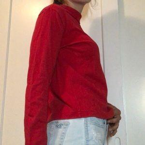 Red long sleeved turtleneck shirt